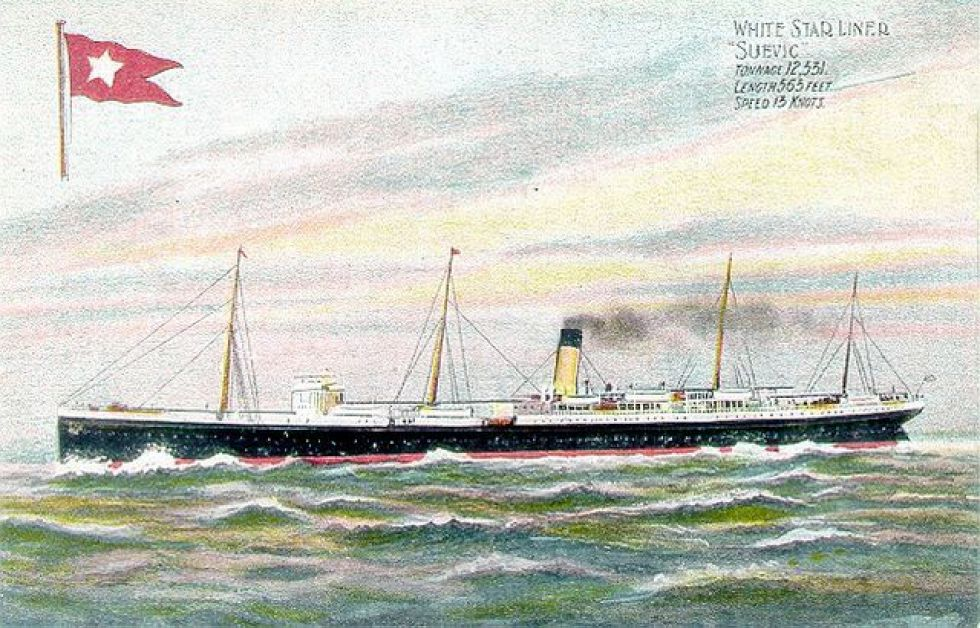 SS Suevic som senare blev valkokare under namnet Skytteren. Foto: Wikipedia.
