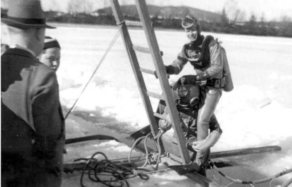 Vikings gummidräkt från 1950-talet.