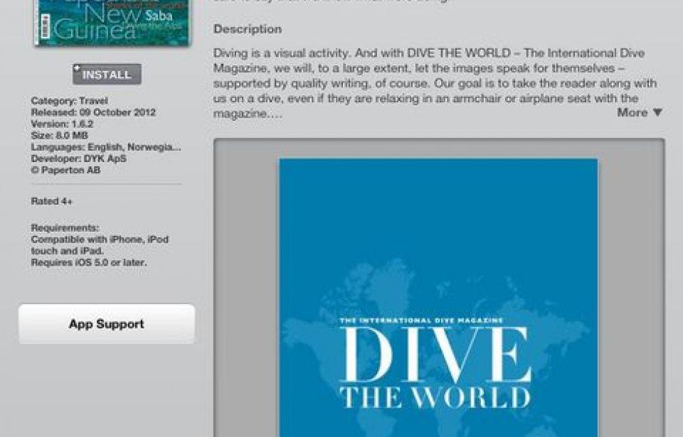 DIVE THE WORLD för iPad.