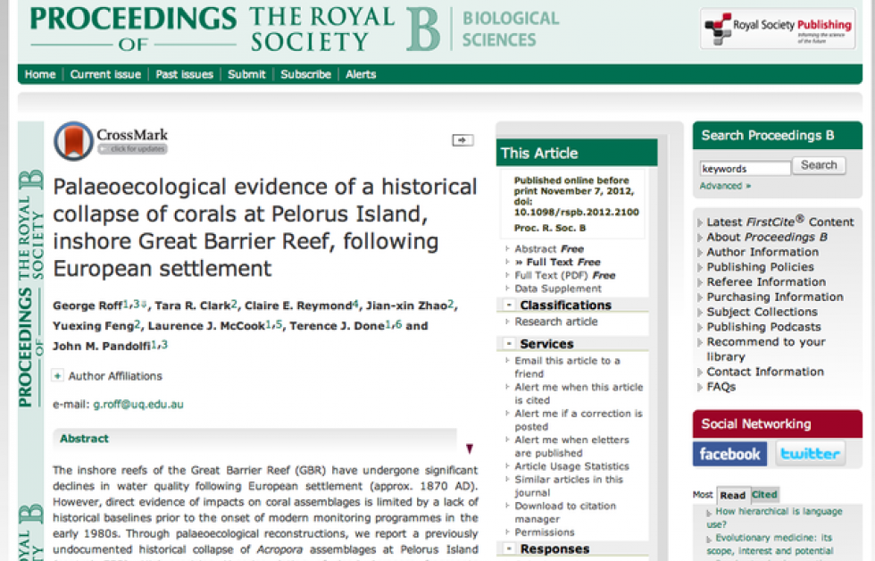 George Roff m.fl. (2012). Palaeoecological evidence of a historical collapse of