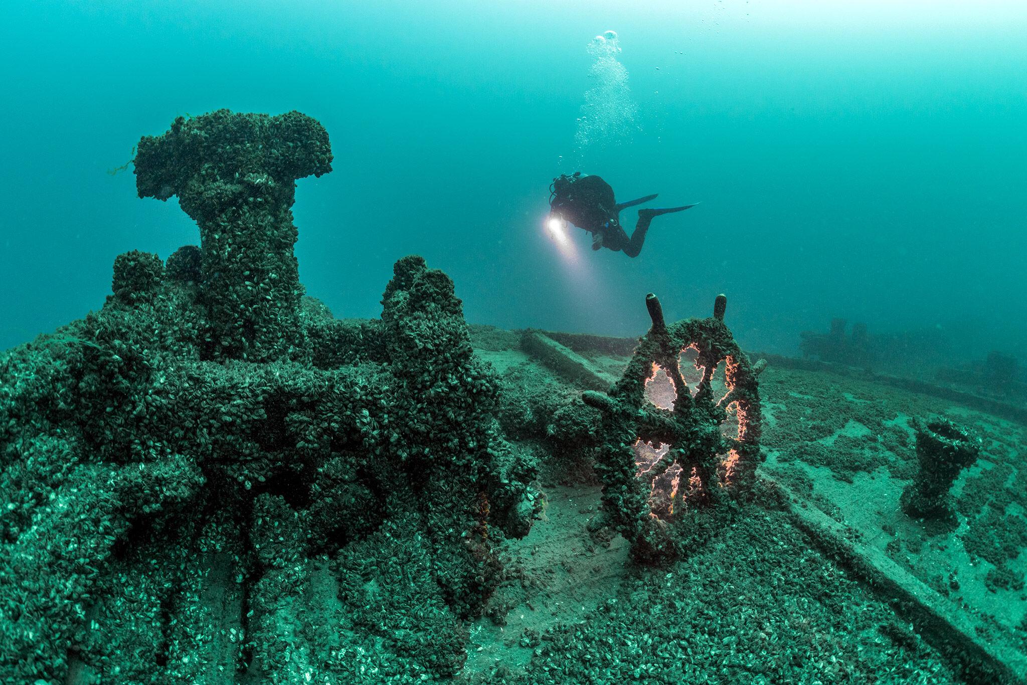 Vraket av William Young, Straits of Mackinac, USA